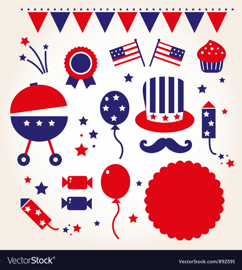 Independence day retro icons vector