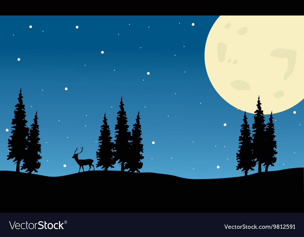Spruce and deer scenery christmas vector