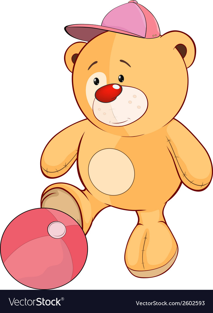 A stuffed toy bear cub a soccer player cartoon vector