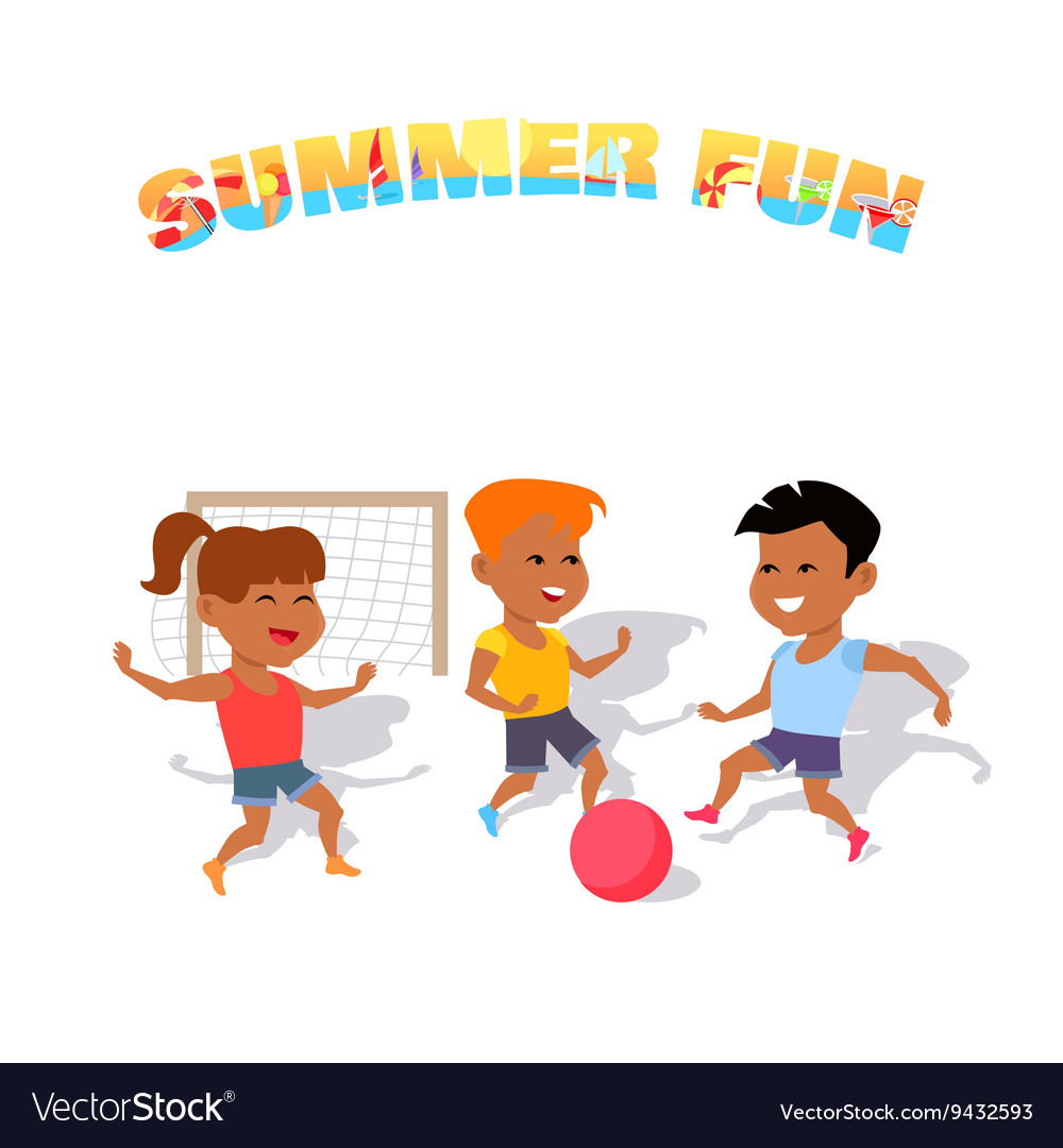 Children play with a ball summer fun vector