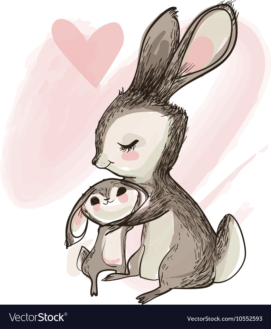 Cute little hare with mom vector