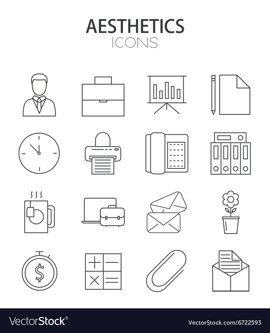 Modern thin line flat design of icons set vector