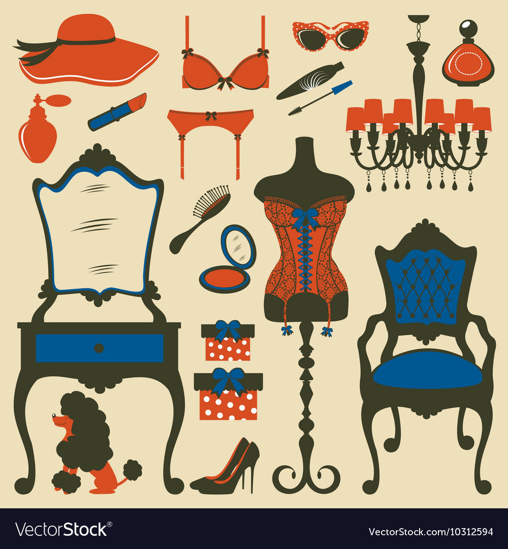 Boudoir accessories collection vector