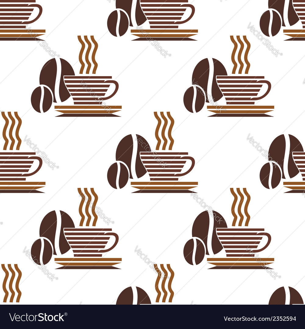 Seamless pattern of steaming coffee vector