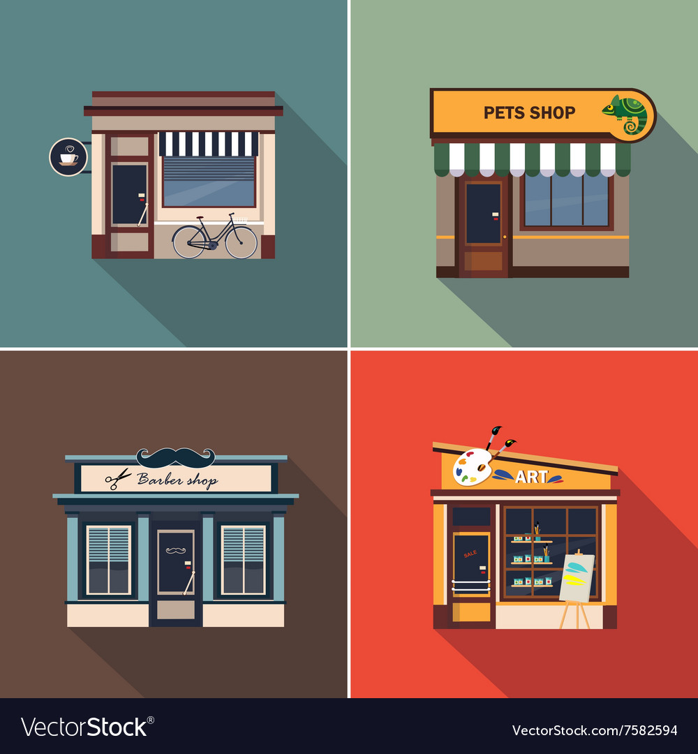 Stores and shop facades colourful vector