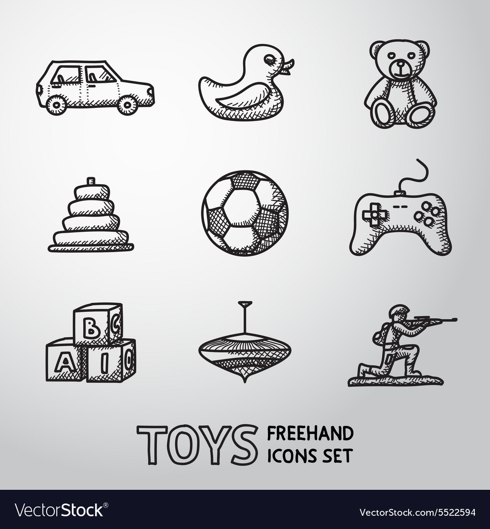Toys hand drawn icons set with  car duck bear vector