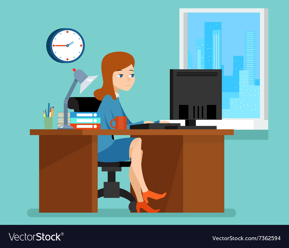 Woman working office at the desk with computer in vector