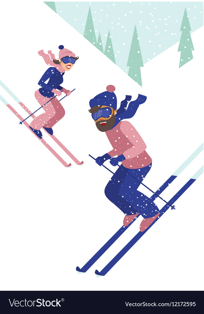 Young couple skiing vector