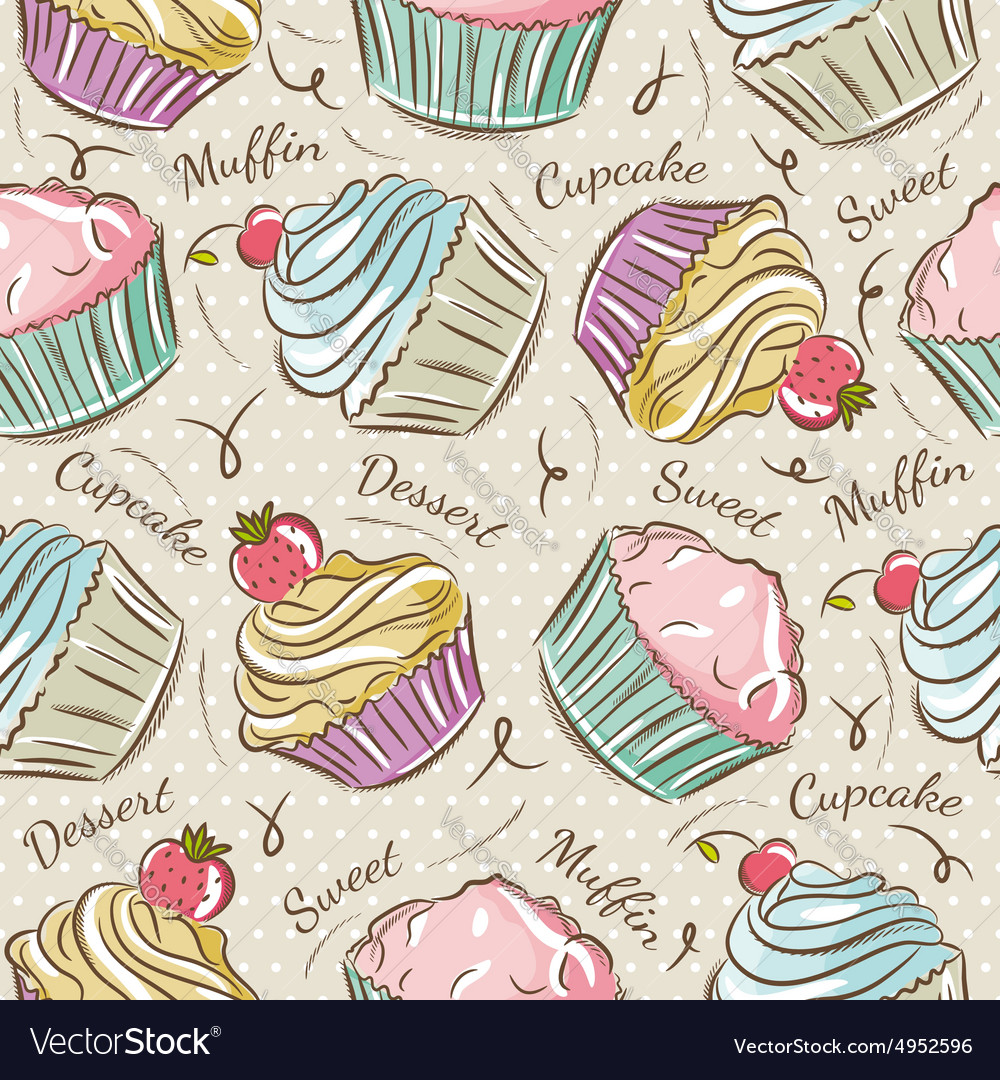 Background with cupcakes vector