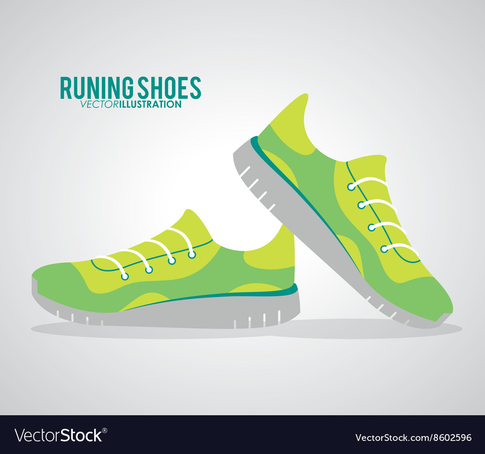 Running shoes design fitness concept white vector