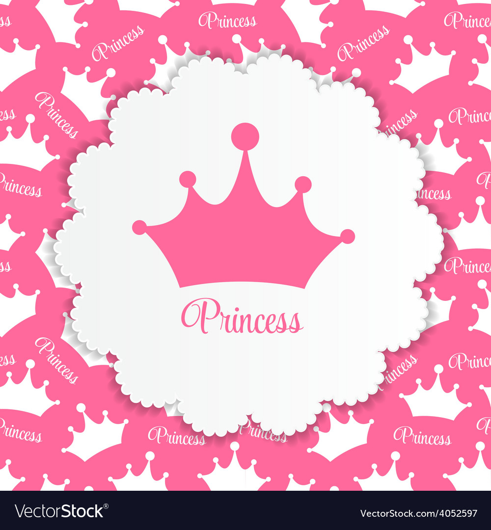 Princess background with crown vector