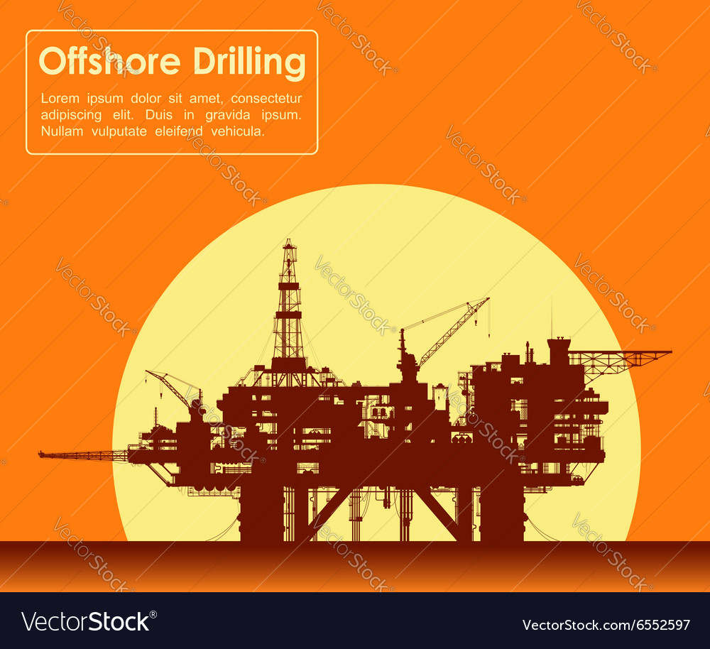 Sea oil rig offshore drilling platform vector