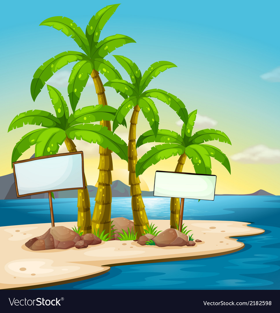 An island with signboards vector