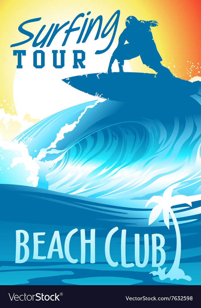 Surfing tour beach club with surfer on wave vector