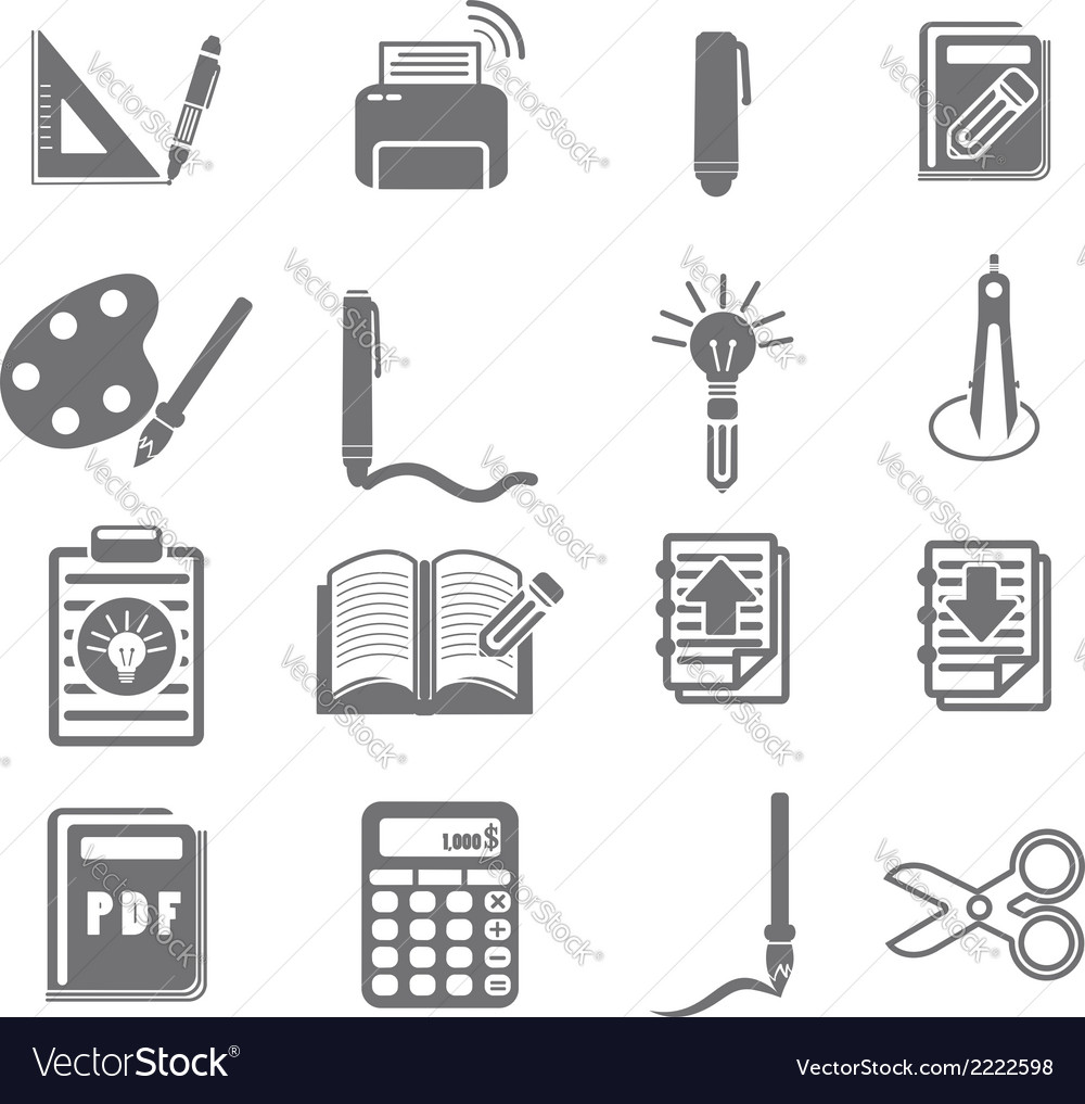 Tools learning icon set 3 vector