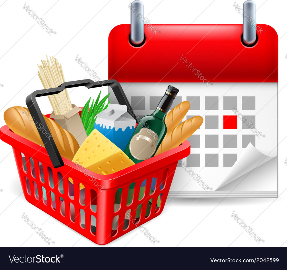 Food basket and calendar vector