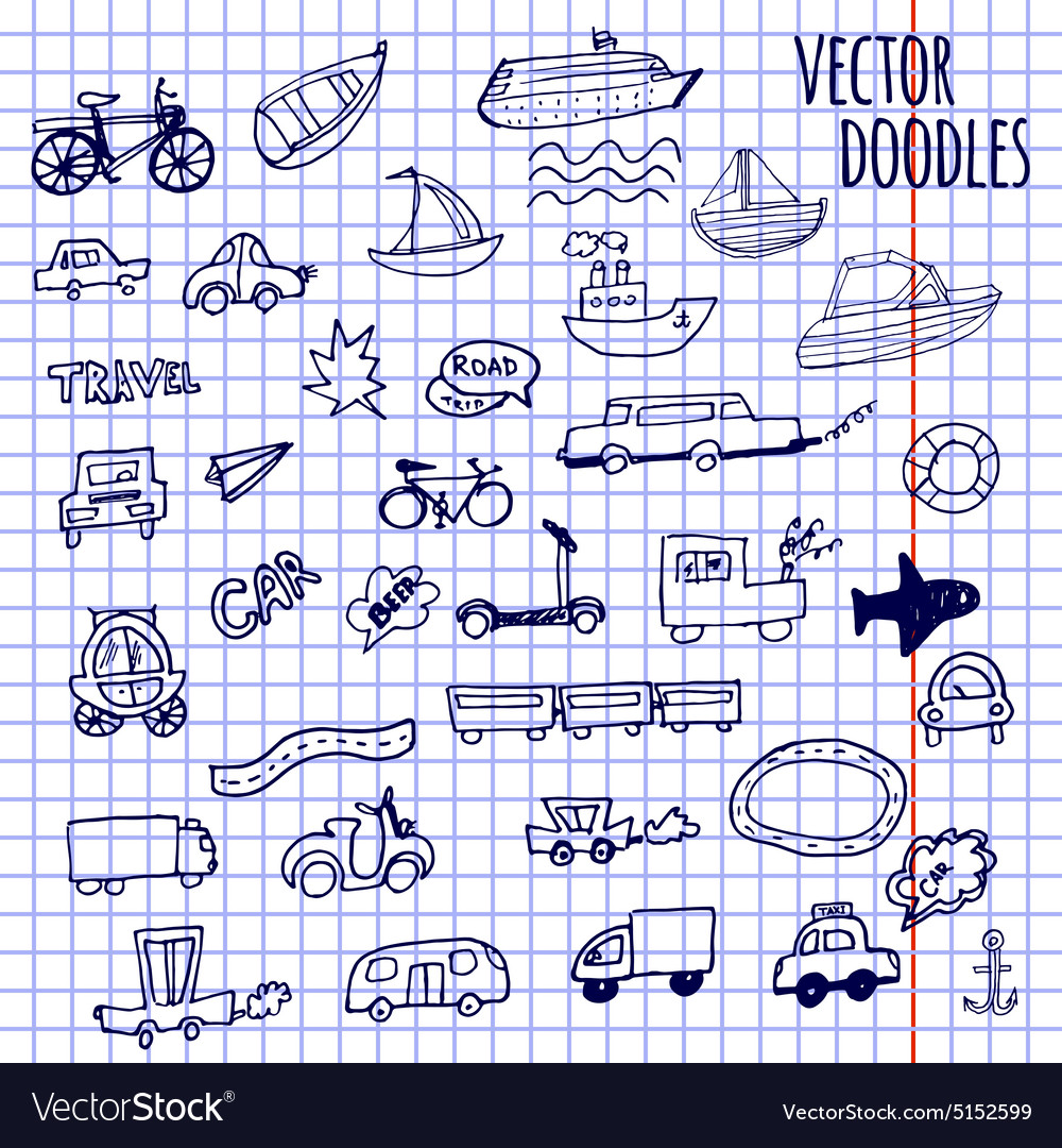Handdrawn doodlestyle cars ships and bicycle vector