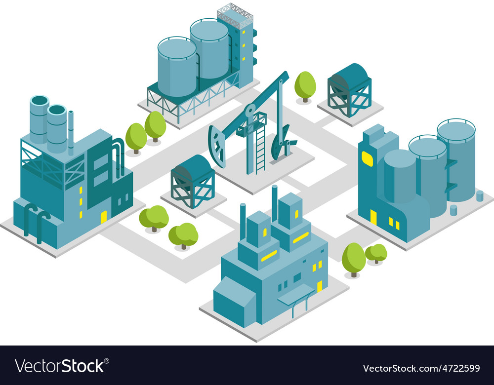 Set of isometric factory oil vector