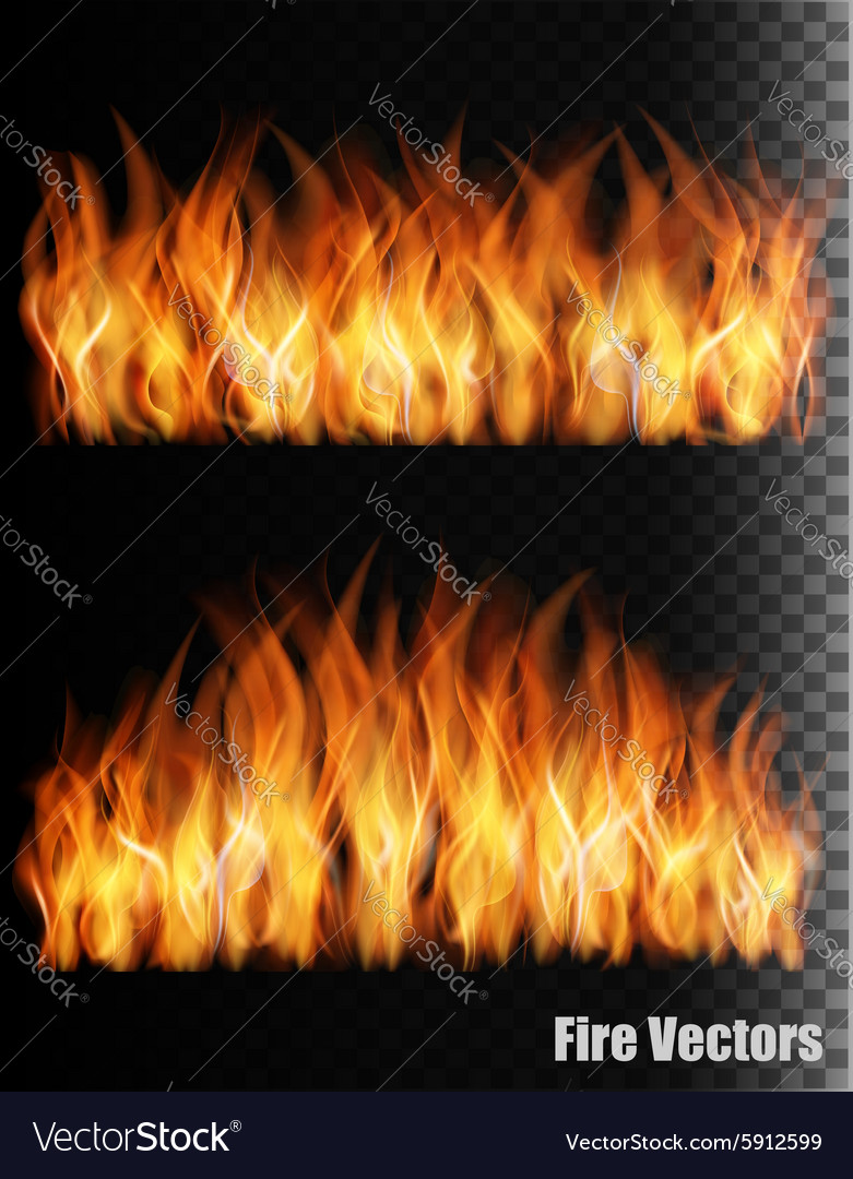 Two banners with fire on black background vector