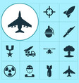 combat icons set collection of chopper rocket vector image