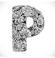 Doodles font from ornamental flowers - letter P vector image