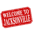 welcome to Jacksonville red square grunge stamp vector image