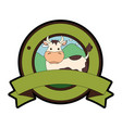 farm cow seal stamp vector image