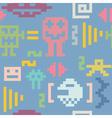 Pixel monsters seamless pattern vector image