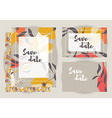 Wedding invitations with floral pattern vector image