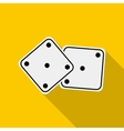 White dices icon in flat style vector image