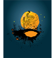 Halloween night pumpkins sillouettes on moon vector image