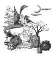 Black and White Halloween Invitation Card with vector image