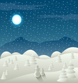 Christmas card with snowy landscape and snowman vector image