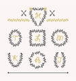cute set of black insignia leaves emblems icons vector image