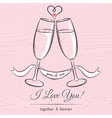 romantic card with two glass of champagne vector image