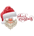 Red santa hat beard and Merry Christmas lettering vector image