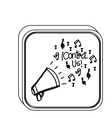 silhouette square button with megaphone vector image