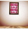 Beige wall wooden floor with Big sale frame vector image vector image