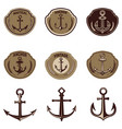 set of the emblems with anchor design elements vector image