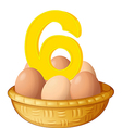 Six eggs vector image vector image
