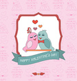 Card for Valentines Day with a seamless background vector image