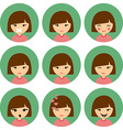 Cartoon Cute Girl with Different Emotion Silent vector image
