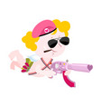 cupid and weapons cute little angel and love gun vector image