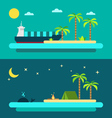Flat design of summer paradise beach vector image