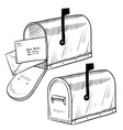 doodle mail mailbox letter vector image