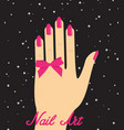 woman hand with pink fingernails and pink bow on vector image