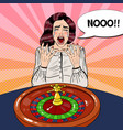 crying woman behind roulette table vector image