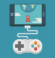 Mobile gaming concept flat design vector image