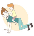 Son riding on his fathers back Hand drawn style vector image