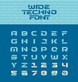 Wide techno poster font Geometric angular letters vector image